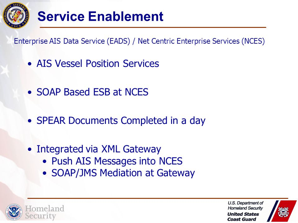 Service Enablement AIS Vessel Position Services SOAP Based ESB at NCES SPEAR Documents Completed in a day Integrated via XML Gateway Push AIS Messages into NCES SOAP/JMS Mediation at Gateway Enterprise AIS Data Service (EADS) / Net Centric Enterprise Services (NCES)