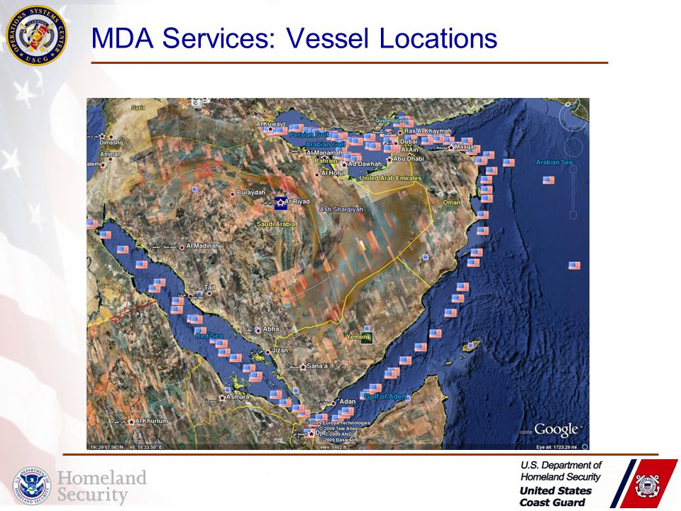 MDA Services: Vessel Locations