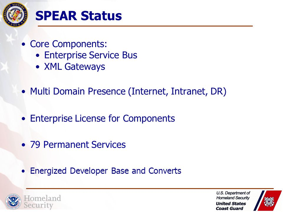 Core Components: Enterprise Service Bus XML Gateways Multi Domain Presence (Internet, Intranet, DR) Enterprise License for Components 79 Permanent Services Energized Developer Base and Converts SPEAR Status