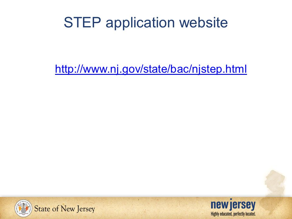 STEP application website http://www.nj.gov/state/bac/njstep.html
