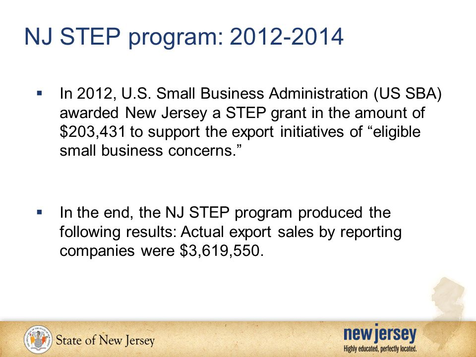 NJ STEP program: 2012-2014  In 2012, U.S.