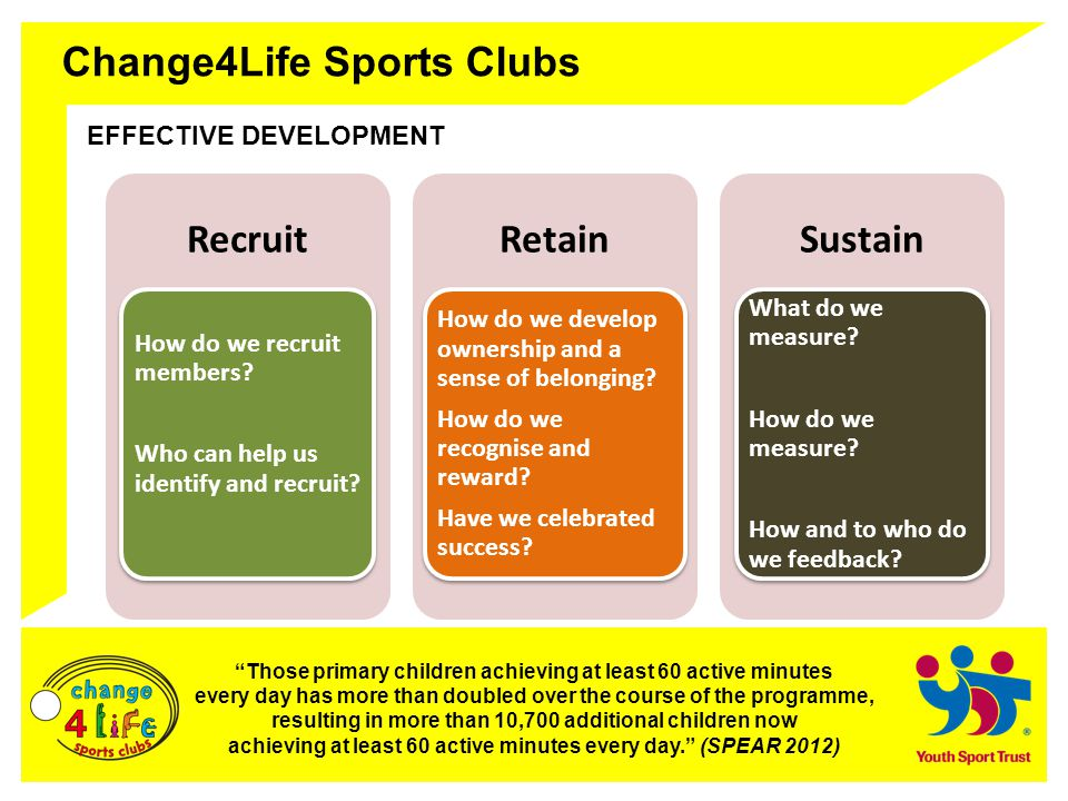 Change4Life Sports Clubs EFFECTIVE DEVELOPMENT Those primary children achieving at least 60 active minutes every day has more than doubled over the course of the programme, resulting in more than 10,700 additional children now achieving at least 60 active minutes every day. (SPEAR 2012) Recruit How do we recruit members.