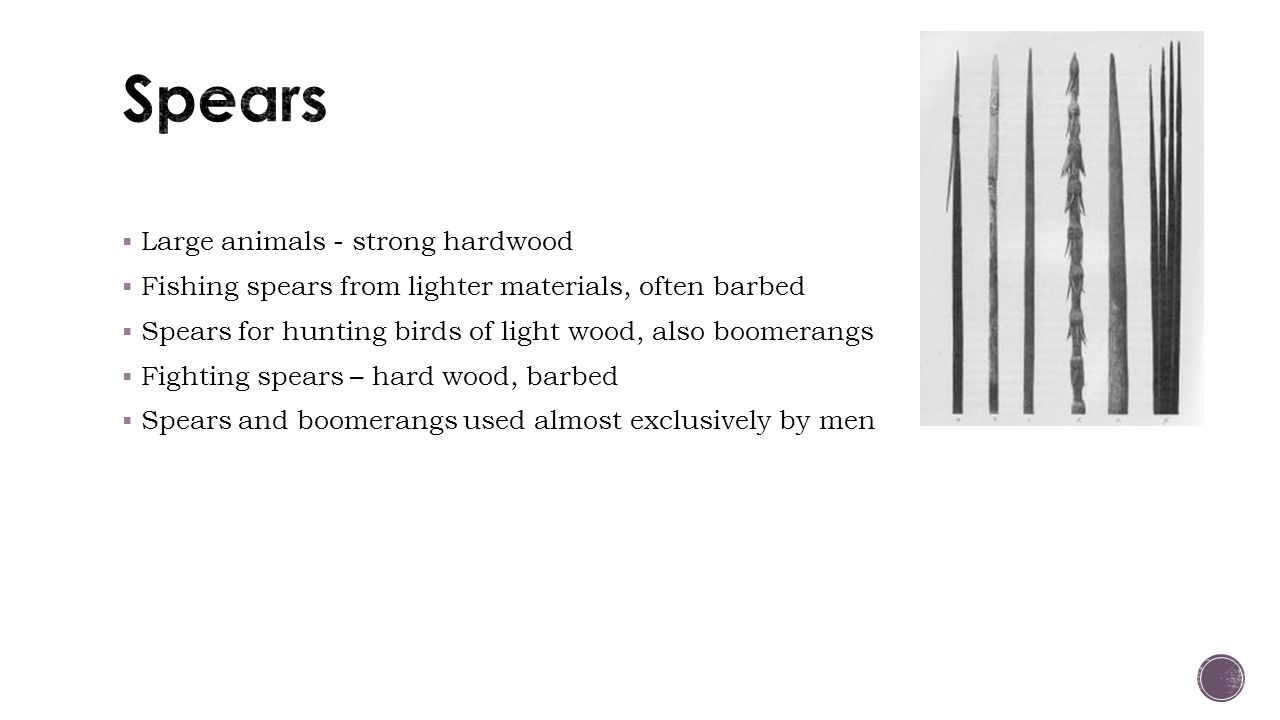  Large animals - strong hardwood  Fishing spears from lighter materials, often barbed  Spears for hunting birds of light wood, also boomerangs  Fighting spears – hard wood, barbed  Spears and boomerangs used almost exclusively by men