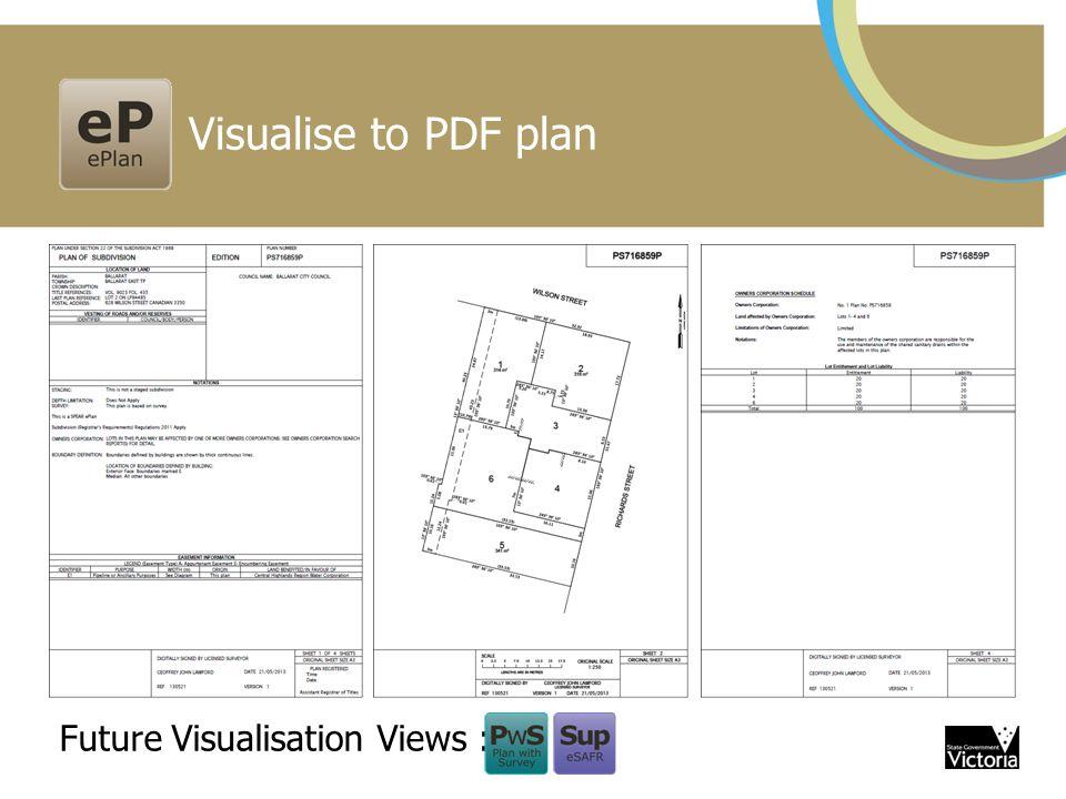 Visualise to PDF plan Future Visualisation Views :