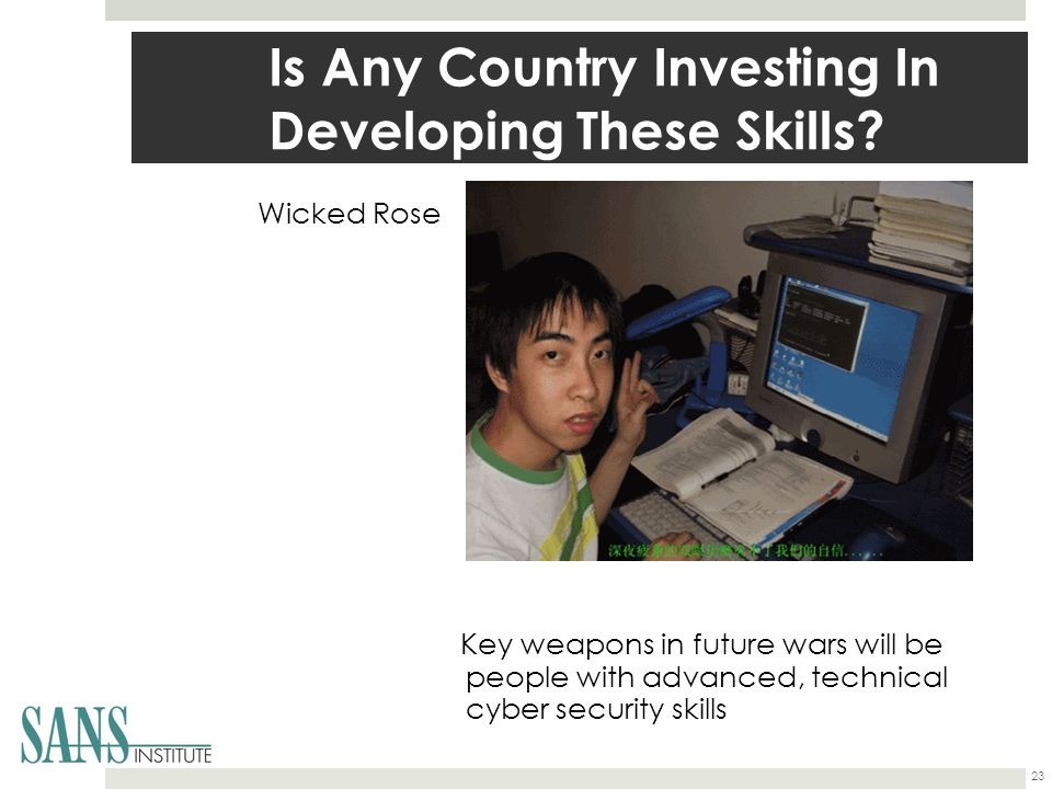 Is Any Country Investing In Developing These Skills? Wicked Rose Key weapons in future wars will be people with advanced, technical cyber security ski