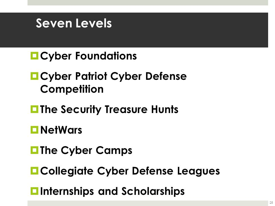 Seven Levels  Cyber Foundations  Cyber Patriot Cyber Defense Competition  The Security Treasure Hunts  NetWars  The Cyber Camps  Collegiate Cyber Defense Leagues  Internships and Scholarships 28