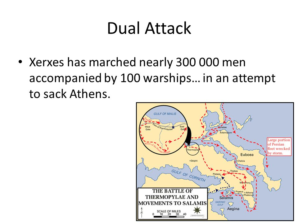 Dual Attack Xerxes has marched nearly 300 000 men accompanied by 100 warships… in an attempt to sack Athens.