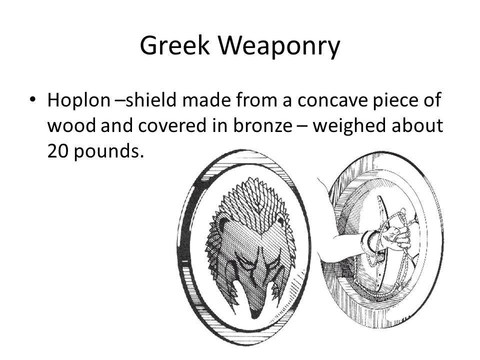Greek Weaponry Hoplon –shield made from a concave piece of wood and covered in bronze – weighed about 20 pounds.