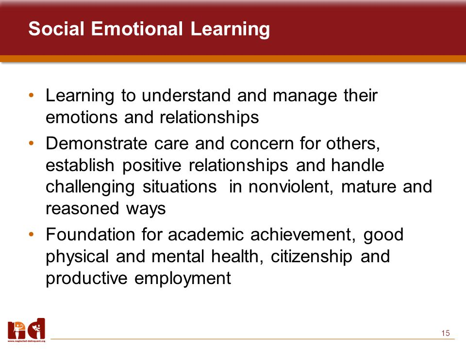 15 Social Emotional Learning Learning to understand and manage their emotions and relationships Demonstrate care and concern for others, establish positive relationships and handle challenging situations in nonviolent, mature and reasoned ways Foundation for academic achievement, good physical and mental health, citizenship and productive employment