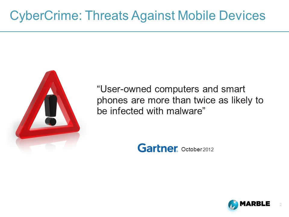 2 CyberCrime: Threats Against Mobile Devices October 2012 User-owned computers and smart phones are more than twice as likely to be infected with malware