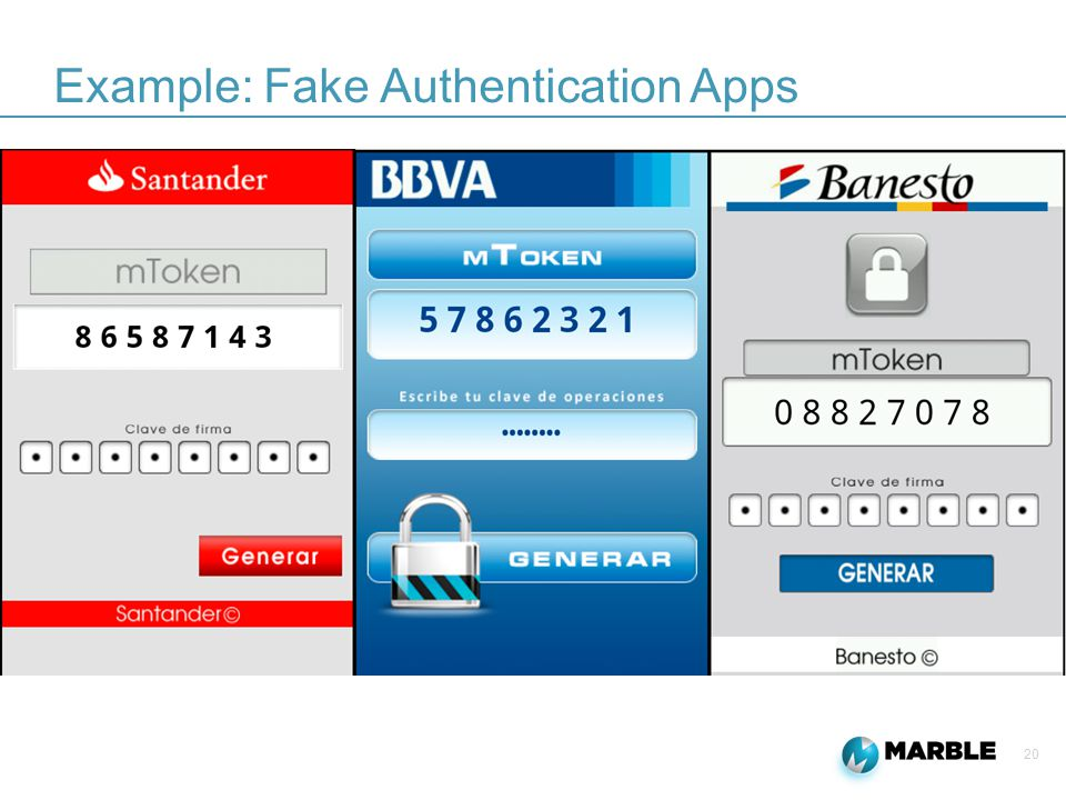 20 Example: Fake Authentication Apps
