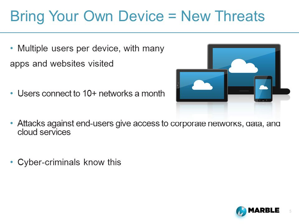 5 Bring Your Own Device = New Threats Multiple users per device, with many apps and websites visited Users connect to 10+ networks a month Attacks against end-users give access to corporate networks, data, and cloud services Cyber-criminals know this