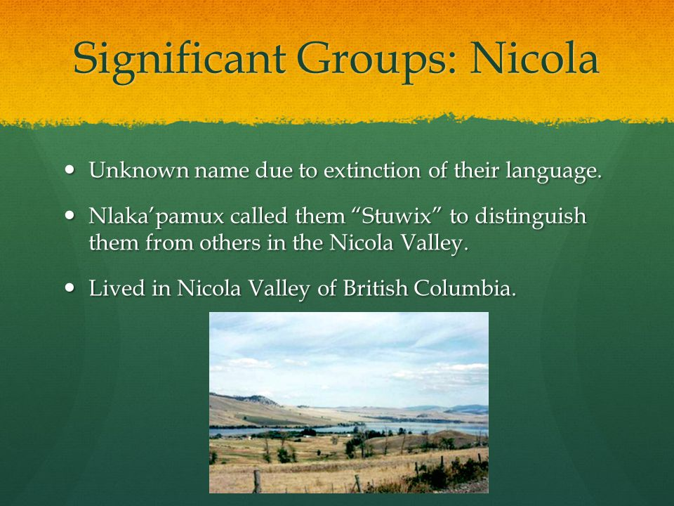 Significant Groups: Nicola Unknown name due to extinction of their language. Unknown name due to extinction of their language. Nlaka'pamux called them
