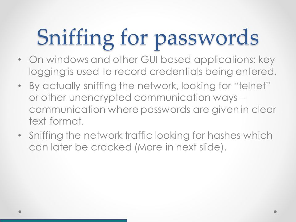 Cracking passwords Gaining root access to /etc/shadow (previously /etc/passwd) leads to obtaining password hashes John the Ripper or other password brute forcing techniques can then be used to retrieve the clear text password.