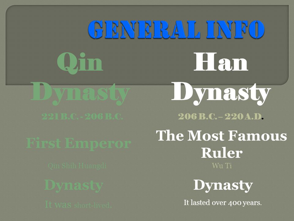 221 B.C. - 206 B.C. Han Dynasty Qin Dynasty 206 B.C. – 220 A.D. Qin Shih Huangdi First Emperor It was short-lived. Dynasty It lasted over 400 years. T