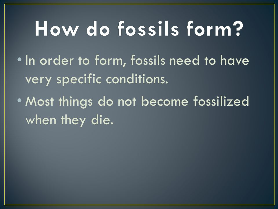 In order to form, fossils need to have very specific conditions. Most things do not become fossilized when they die.