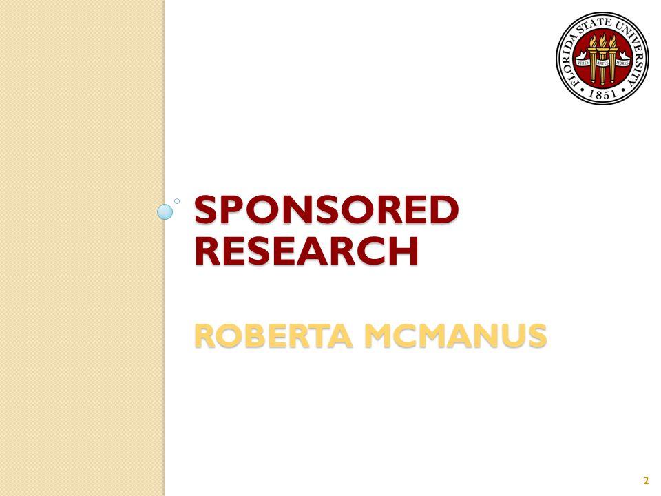 SPONSORED RESEARCH ROBERTA MCMANUS 2