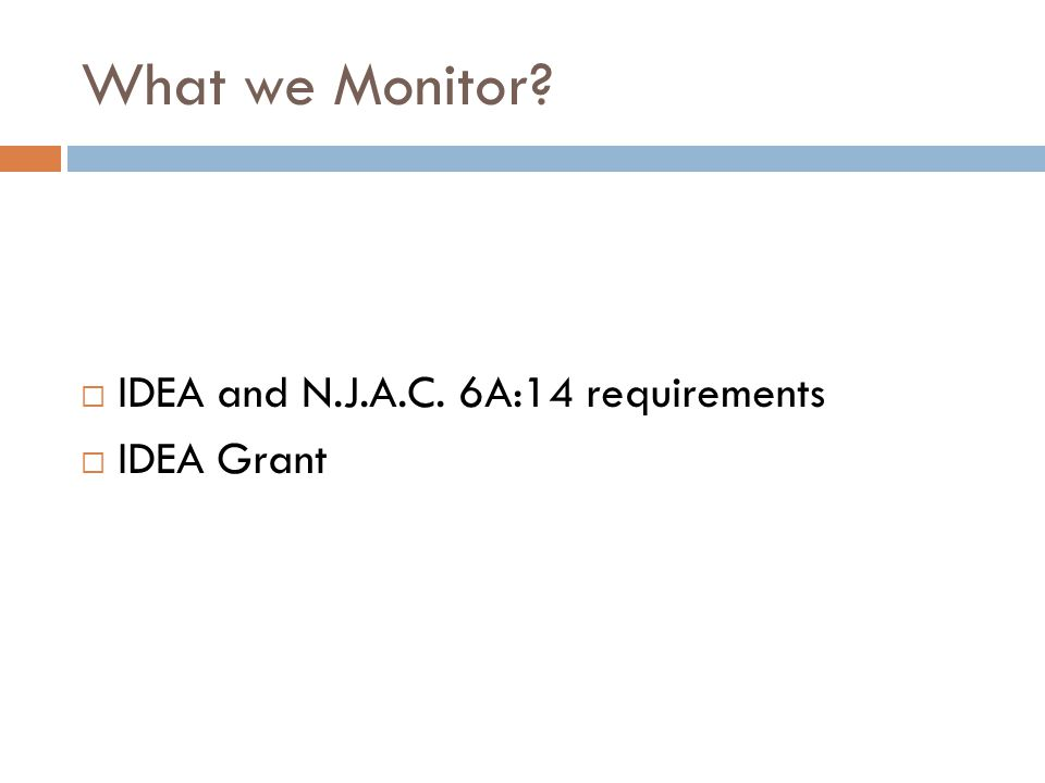 What we Monitor?  IDEA and N.J.A.C. 6A:14 requirements  IDEA Grant
