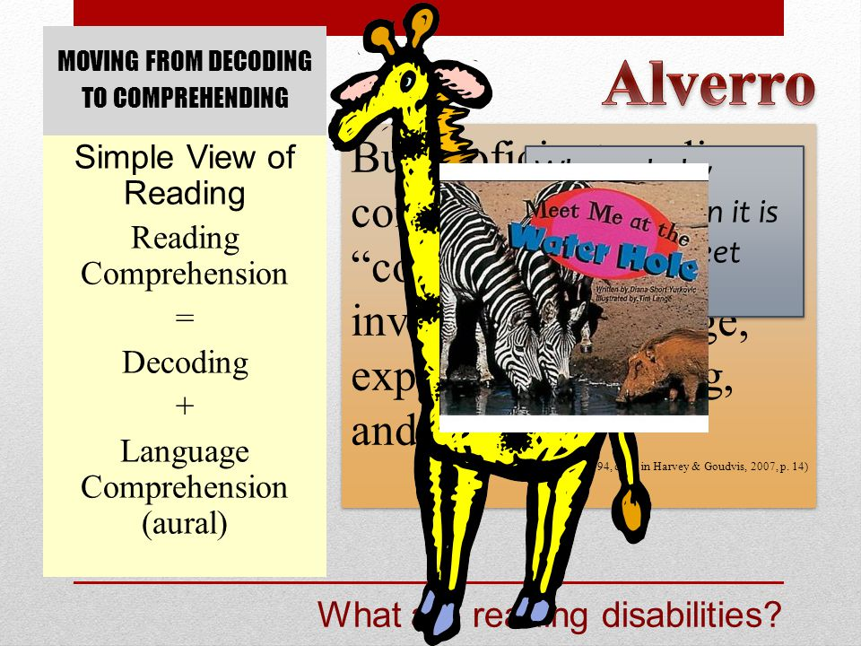 MOVING FROM DECODING TO COMPREHENDING Simple View of Reading Reading Comprehension = Decoding + Language Comprehension (aural) What are reading disabi
