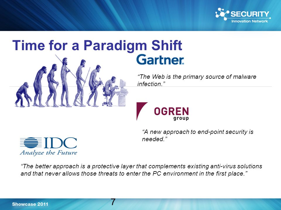 Time for a Paradigm Shift 7 The Web is the primary source of malware infection. The better approach is a protective layer that complements existing anti-virus solutions and that never allows those threats to enter the PC environment in the first place. A new approach to end-point security is needed.