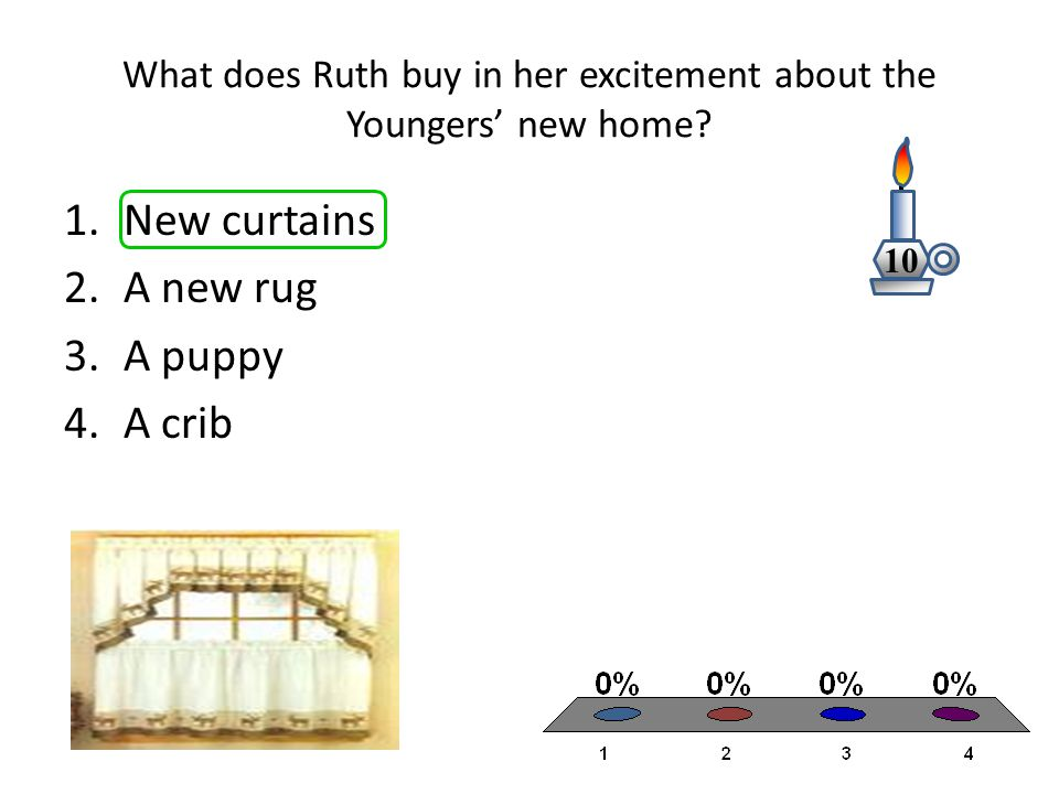 What does Ruth buy in her excitement about the Youngers' new home? 1.New curtains 2.A new rug 3.A puppy 4.A crib 10