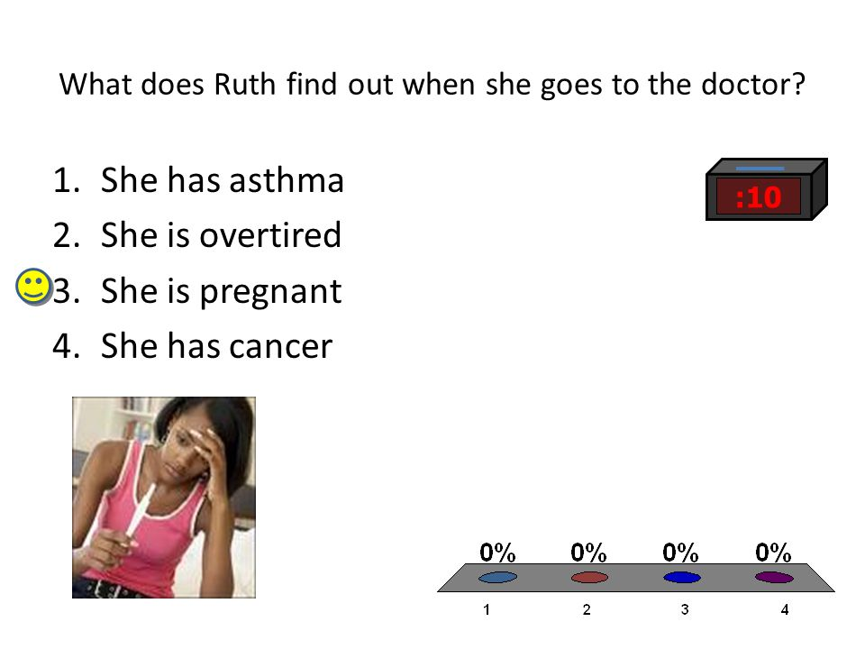 What does Ruth find out when she goes to the doctor? 1.She has asthma 2.She is overtired 3.She is pregnant 4.She has cancer :10
