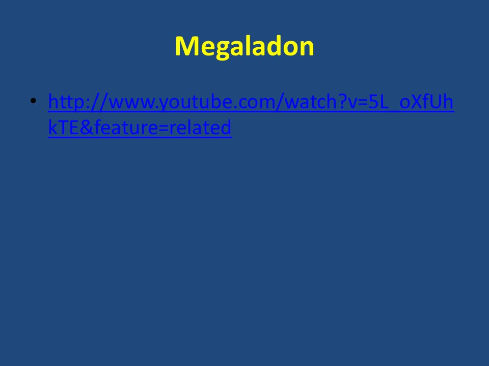 Megaladon http://www.youtube.com/watch v=5L_oXfUh kTE&feature=related http://www.youtube.com/watch v=5L_oXfUh kTE&feature=related