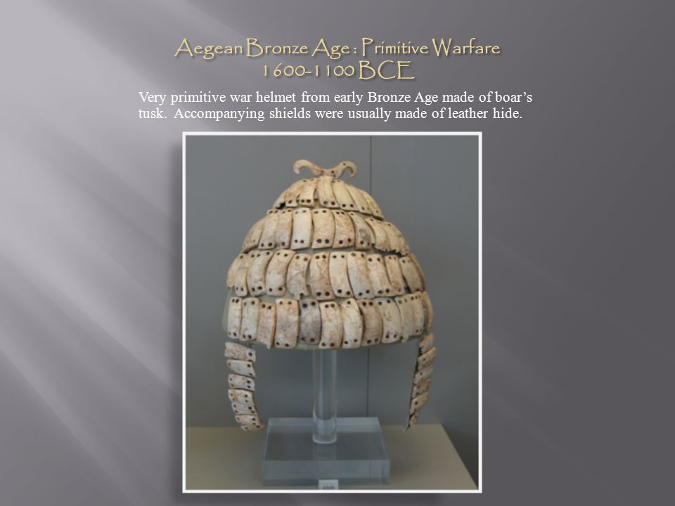 Very primitive war helmet from early Bronze Age made of boar's tusk.
