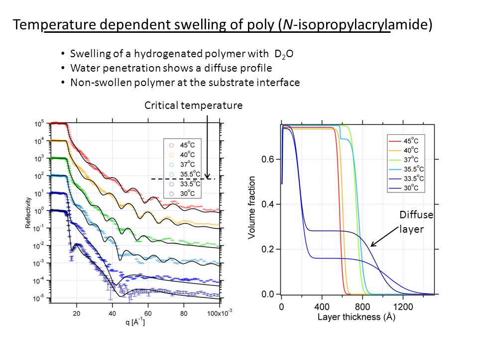 Temperature dependent swelling of poly (N-isopropylacrylamide) Swelling of a hydrogenated polymer with D 2 O Water penetration shows a diffuse profile Non-swollen polymer at the substrate interface Diffuse layer Critical temperature