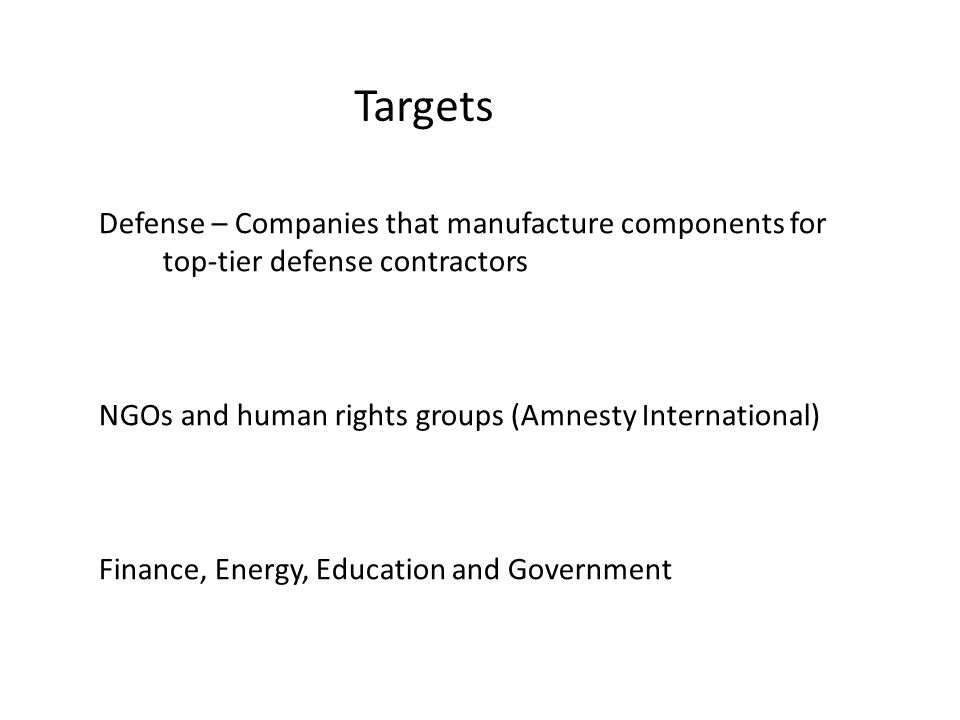 Targets Defense – Companies that manufacture components for top-tier defense contractors NGOs and human rights groups (Amnesty International) Finance,