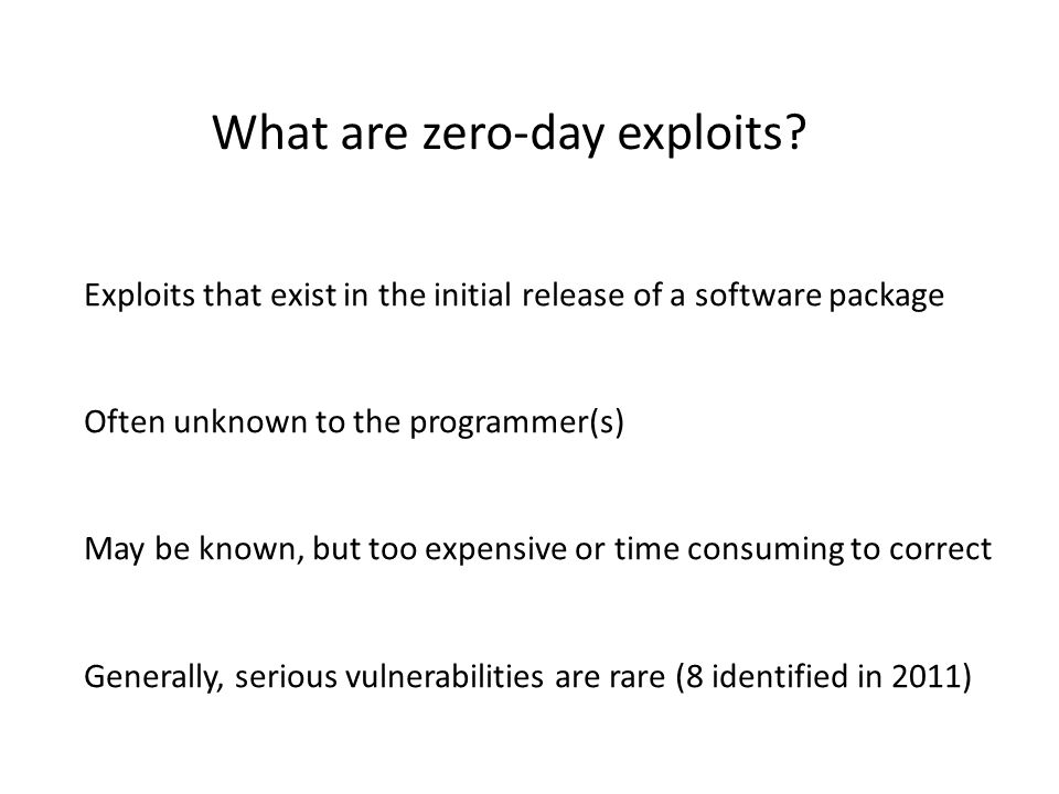 Which zero-day exploits are included.
