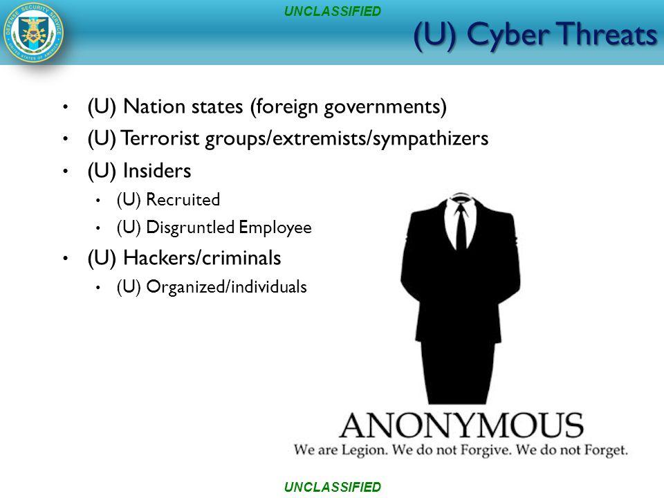 (U) Cyber Threats (U) Nation states (foreign governments) (U) Terrorist groups/extremists/sympathizers (U) Insiders (U) Recruited (U) Disgruntled Employee (U) Hackers/criminals (U) Organized/individuals UNCLASSIFIED