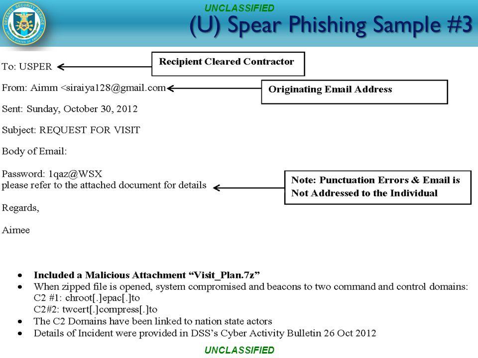 (U) Spear Phishing Sample #3 UNCLASSIFIED