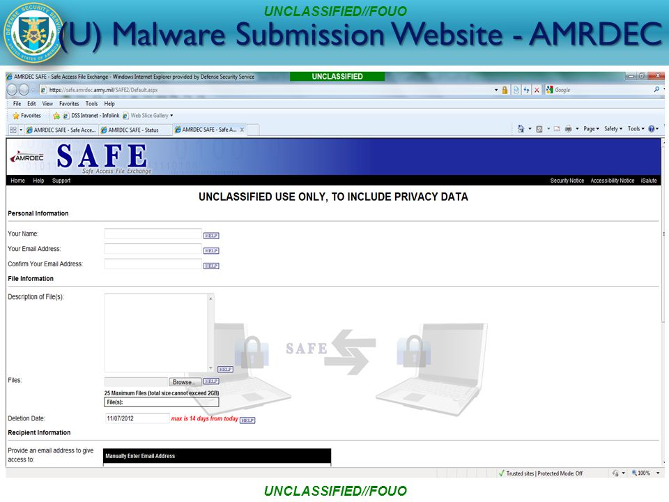 (U) Malware Submission Website - AMRDEC UNCLASSIFIED//FOUO