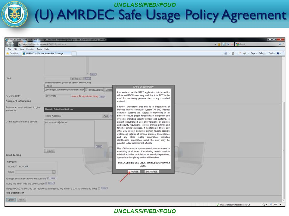 (U) AMRDEC Safe Usage Policy Agreement UNCLASSIFIED//FOUO