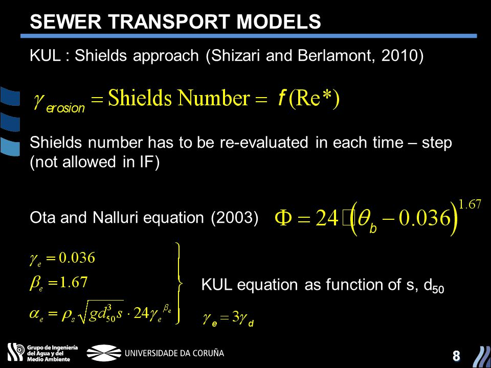 88 SEWER TRANSPORT MODELS KUL : Shields approach (Shizari and Berlamont, 2010) Shields number has to be re-evaluated in each time – step (not allowed