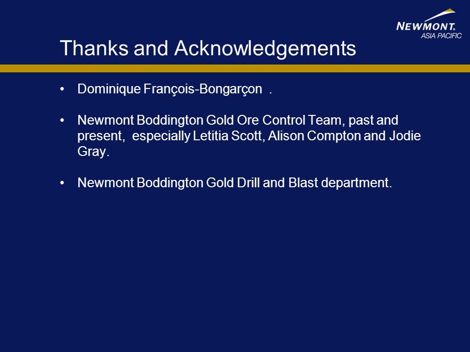 Thanks and Acknowledgements Dominique François-Bongarçon. Newmont Boddington Gold Ore Control Team, past and present, especially Letitia Scott, Alison