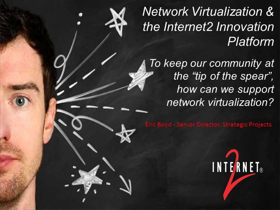 Title or Title Event/Date Presenter, PresenterTitle, Internet2 Network Virtualization & the Internet2 Innovation Platform To keep our community at the tip of the spear , how can we support network virtualization.
