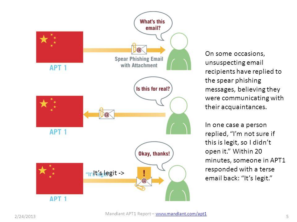 2/24/2013 Mandiant APT1 Report – www.mandiant.com/apt1www.mandiant.com/apt1 6 FIGURE 20: APT1 bundles stolen files into rar archives before moving data to China.