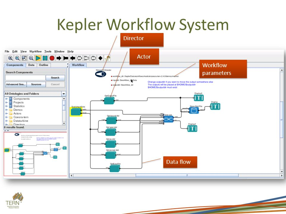 Kepler Workflow System Director Actor Data flow Workflow parameters