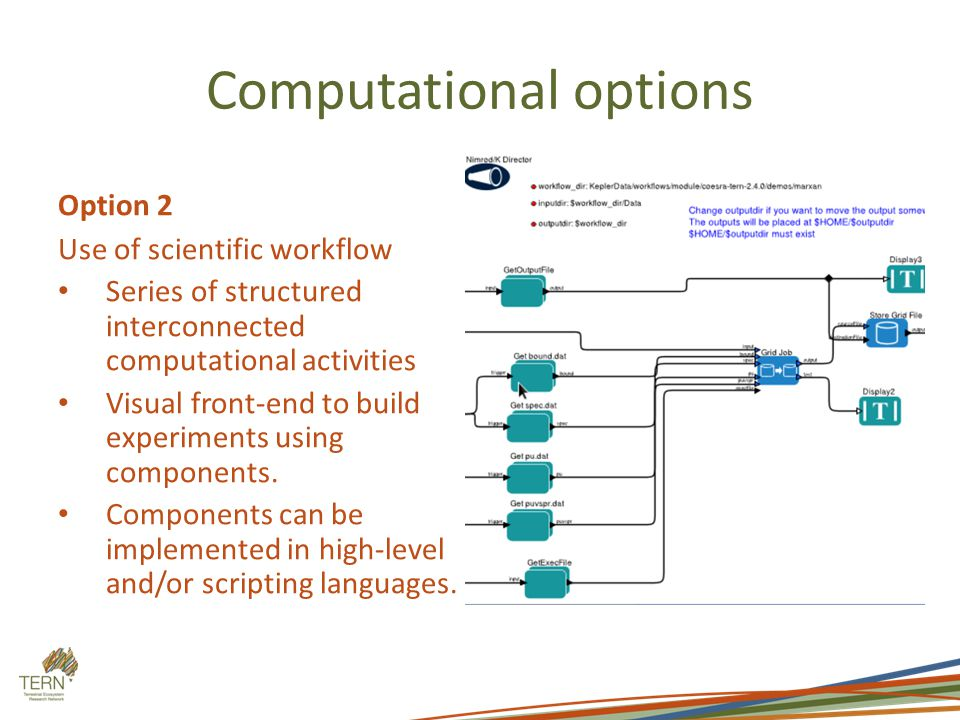 Computational options Option 2 Use of scientific workflow Series of structured interconnected computational activities Visual front-end to build experiments using components.