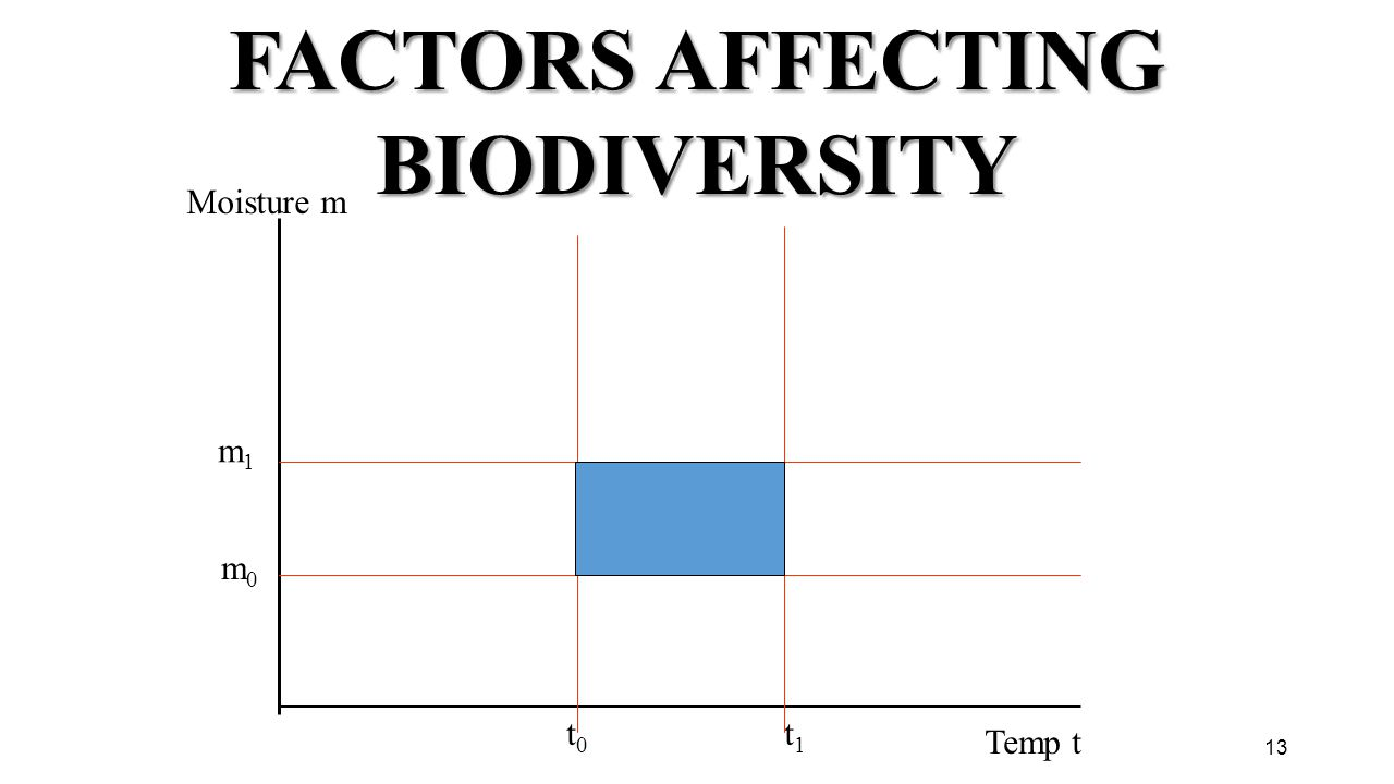 13 FACTORS AFFECTING BIODIVERSITY Temp t t0t0 t1t1 Moisture m m1m1 m0m0