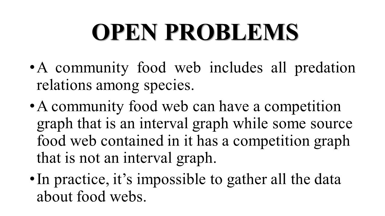 OPEN PROBLEMS A community food web includes all predation relations among species.