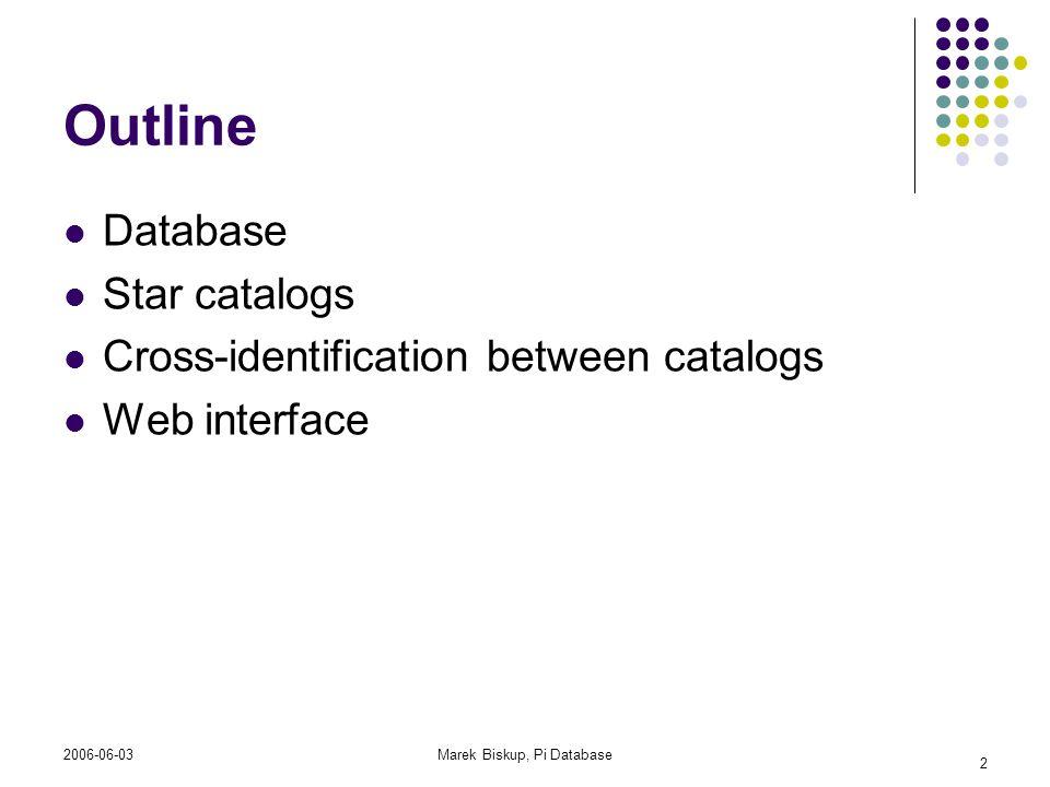 2006-06-03Marek Biskup, Pi Database 2 Outline Database Star catalogs Cross-identification between catalogs Web interface