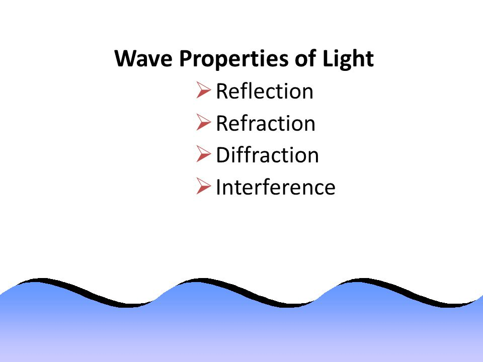 Wave Properties of Light  Reflection  Refraction  Diffraction  Interference