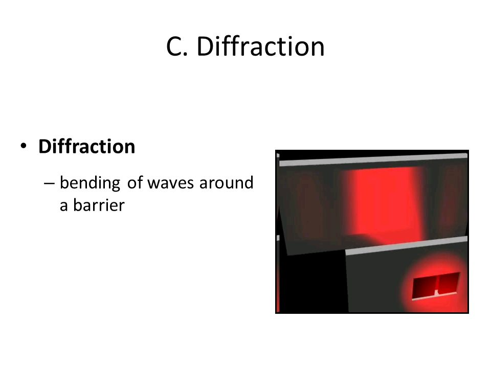 C. Diffraction Diffraction – bending of waves around a barrier