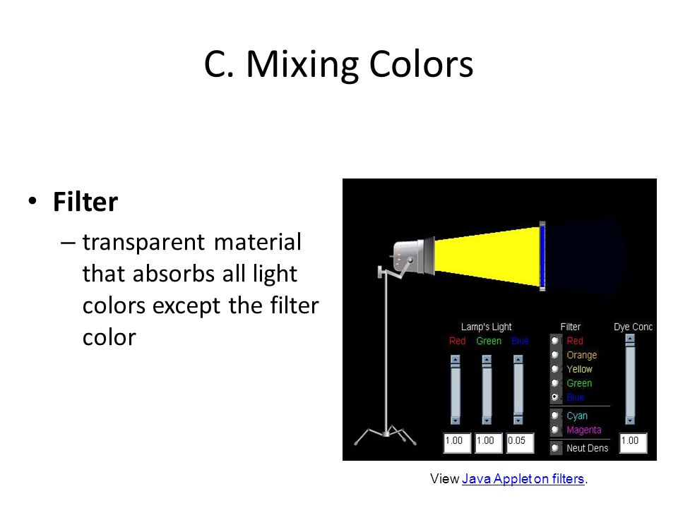 C. Mixing Colors Filter – transparent material that absorbs all light colors except the filter color View Java Applet on filters.Java Applet on filter
