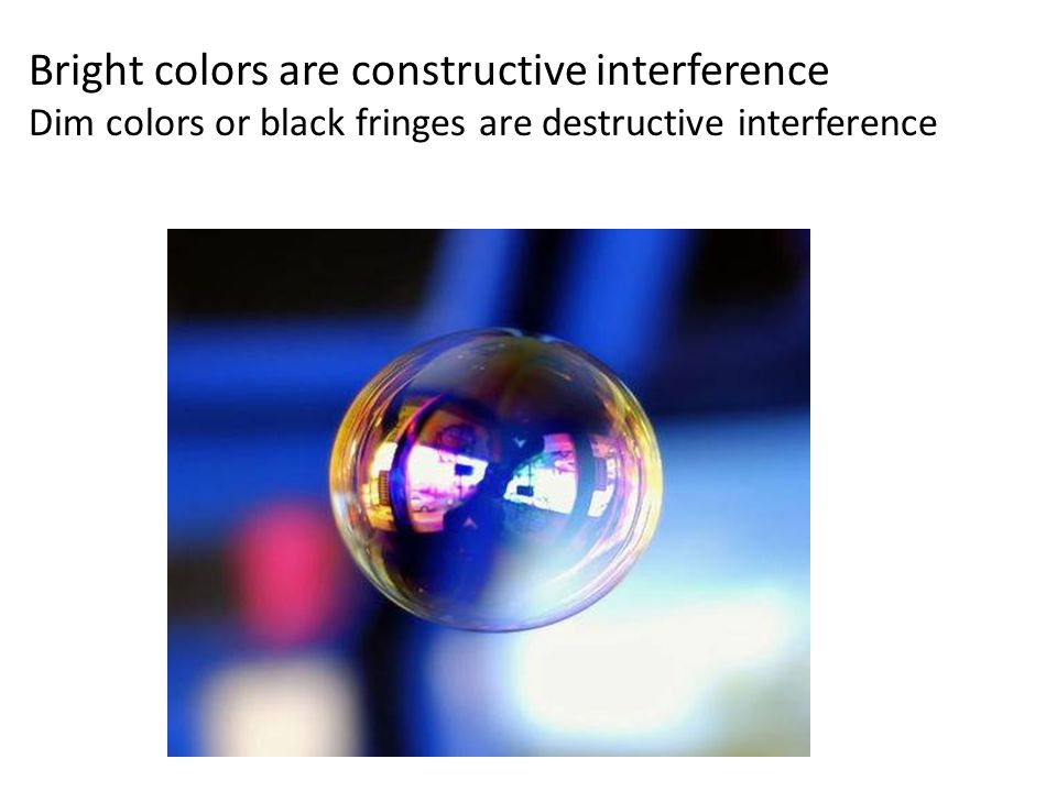 Bright colors are constructive interference Dim colors or black fringes are destructive interference