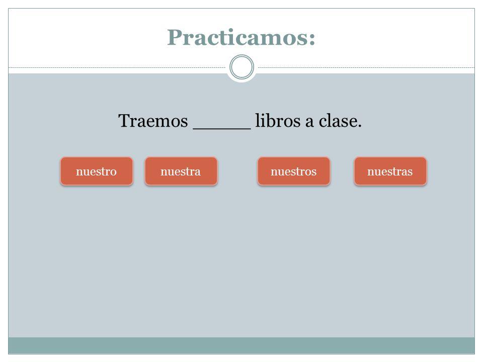 Practicamos: Traemos _____ libros a clase. nuestra nuestros nuestras nuestro