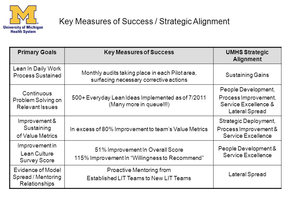 Primary GoalsKey Measures of SuccessUMHS Strategic Alignment Lean In Daily Work Process Sustained Monthly audits taking place in each Pilot area, surf